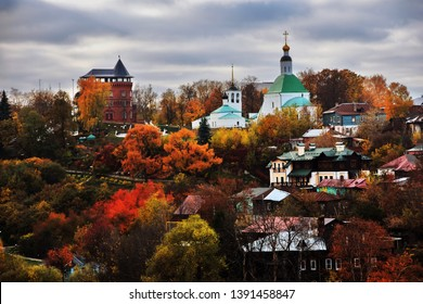 Panorama of Vladimir town, Russia. Autumn nature. Color photo.