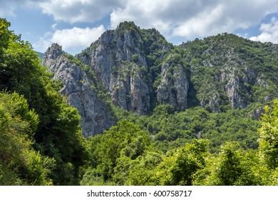 Panorama of Vlasi Village and rock formation of Jerma River Gorge, Dimitrovgrad Region, Serbia - Shutterstock ID 600758717
