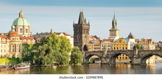 Panorama of Vltava river and Charles bridge, Prague, Czech republic