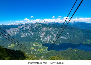 Panorama from Vogel main cabin lift, look to the valley from top cabin station, Slovenia