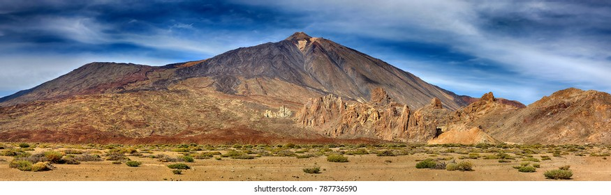 Panorama of volcano Teide with Llano de Ucanca (Tenerife, Canary Islands)