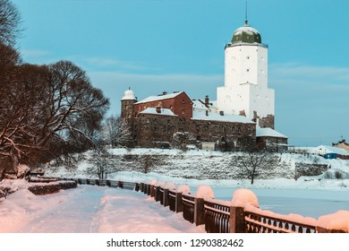 panorama of Vyborg castle and Castle island in the early winter morning
