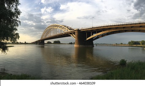 Panorama from the Waalbridge in Nijmegen The Netherlands