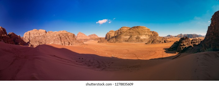Panorama of the Wadi rum desert. Jordan.