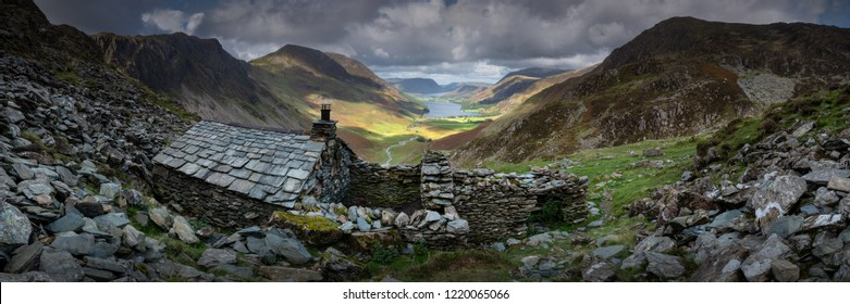 Panorama of Warnscale Bothy above Buttermere Valley, Lake District, England