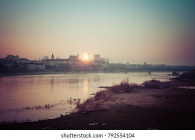 Panorama of Warsaw City, seen from the Holy Cross Bridge (The ?wi?tokrzyski Bridge)