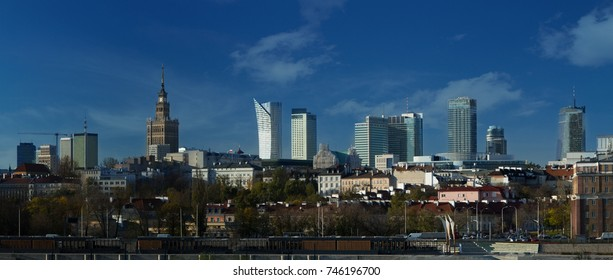 Panorama of Warsaw with new skyscrapers and Palace of Culture and Science