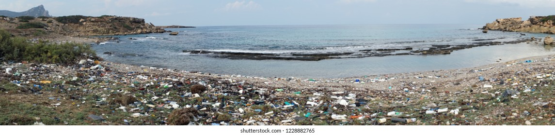 Panorama of waste on the beach in North Cyprus