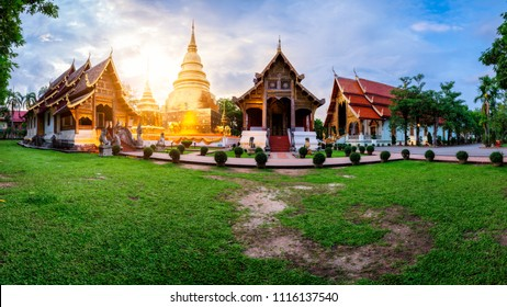 Panorama of Wat Phra Singh temple. This temple contains supreme examples of Lanna art in the old city center of Chiang Mai,Thailand.