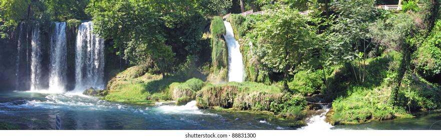 panorama of waterfall cascade duden turkey