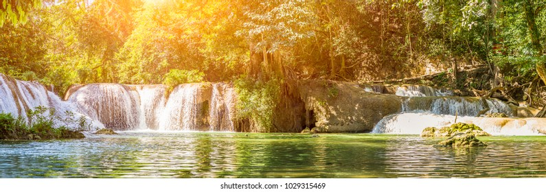 Panorama Waterfall in a forest on the mountain in tropical forest at Waterfall Chet Sao Noi in National park Saraburi province, Thailand