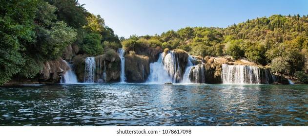 panorama of waterfall on Krka river in Croatia