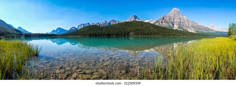 Panorama of Waterfowl Lake in Banff National Park.