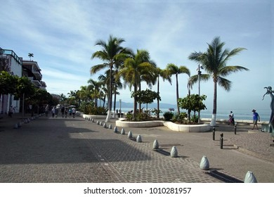 Panorama of waterfront and beach along the Malecon, Puerta Vallarta, Mexico