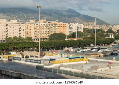 Panorama of the waterfront and the port in the tourist center of Palermo, Sicily, Italy, October 8, 2018