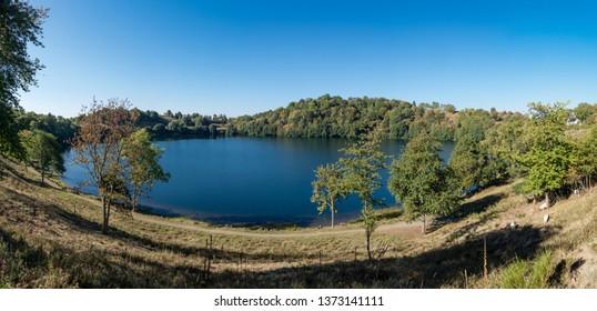 Panorama of the Weinfelder Maar near Daun Eifel Germany
