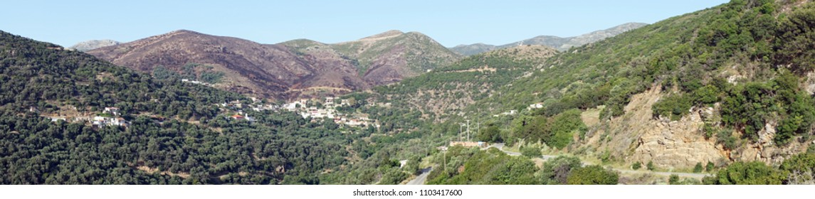 Panorama of west part of Crete island, Greece
