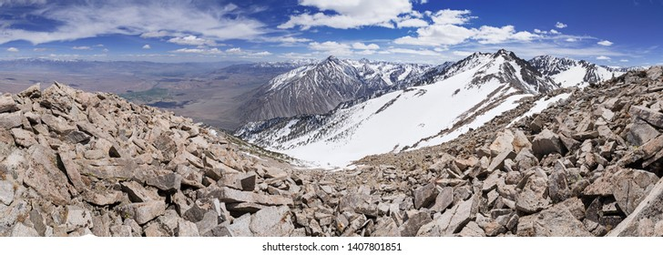 panorama from Wheeler Crest in the Sierra Nevada Mountains overlooking Bishop California in the Owens Valley
