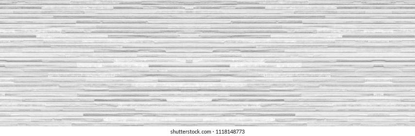 Panorama of White brick stone wall pattern and seamless background