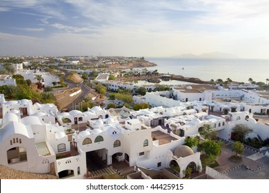 Panorama of white city and the blue sea with a coast line Sharm el-Sheikh
