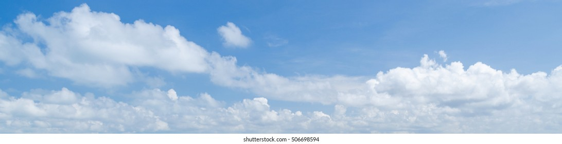 Panorama of white cloud and blue sky in morning
