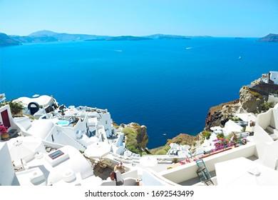 Panorama of white houses in Oia town, Santorini island