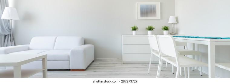 Panorama of white interior in minimalist design