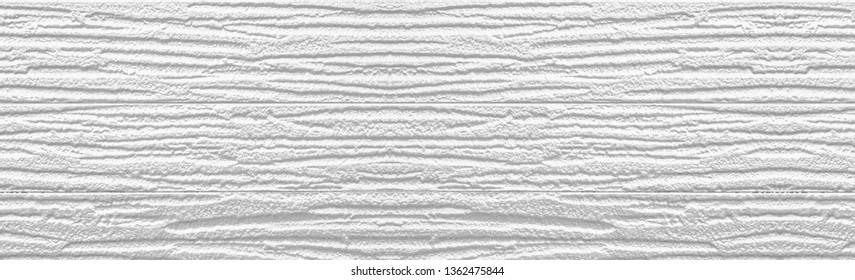 Panorama of White painted plastic building wall texture and background