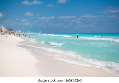 The panorama of the white sand beach of Caribbean sea in Cancun Mexico
