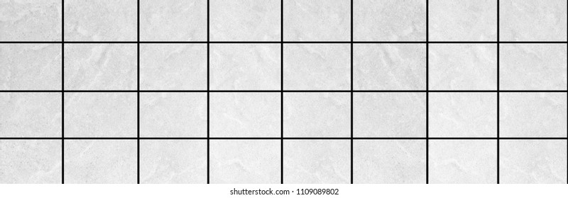 Panorama of White stone floor tile texture and background