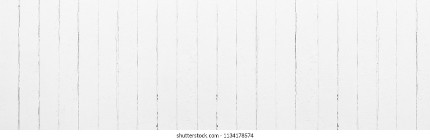Panorama of white wood pattern and background