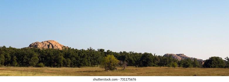 Panorama of Wichita Mountains Wildlife Refuge in southwestern Oklahoma in autumn