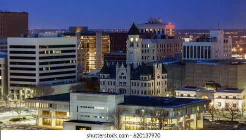 Panorama of Wichita at night. Wichita, Kansas, USA.