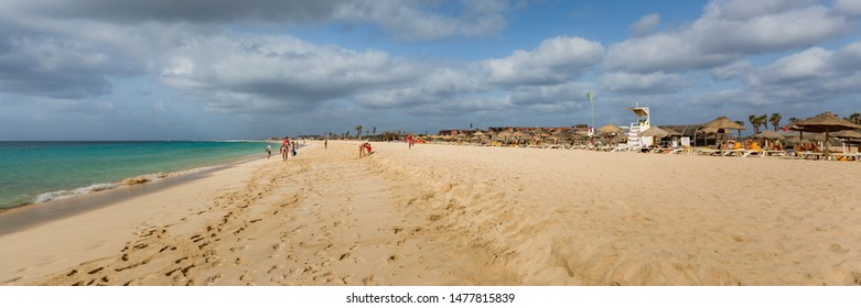 Panorama of wide golden sand beach and hotels on Sal island, Cabo Verde, Cape Verde