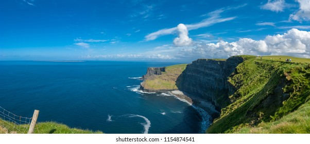 Panorama of wild Cliffs of Moher, Burren region, County Clare, Ireland