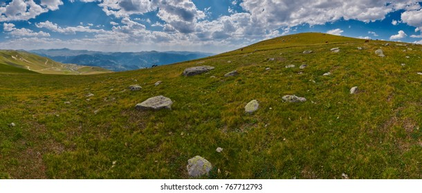 Panorama of wild Georgian Landscape High in the Mountains