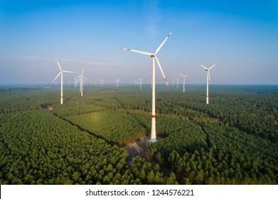 Panorama of a wind farm in the forest