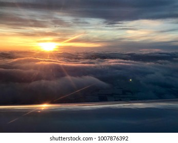 Panorama from the window of the plane in flight. during the crossing of the Atlantic Ocean