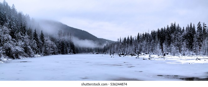 panorama of winter landscape at Buntzen Lake, Anmore, Port Moody, BC, Canada