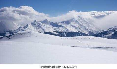 Panorama of a winter landscape at a ski area, Kitzski, Kitzbuhel - Kirchberg, Austria