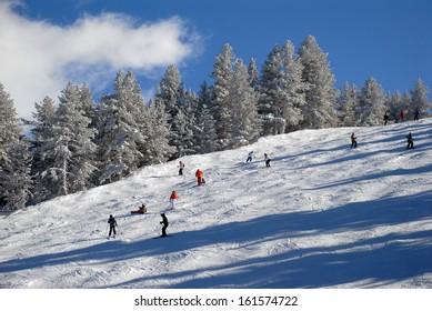 Panorama of winter mountains. Alpine ski resort Bansko, Bulgaria
