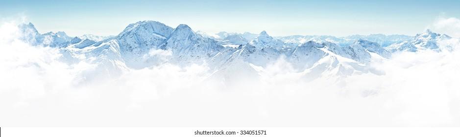 Panorama of winter mountains in Caucasus region,Elbrus mountain, Russia
