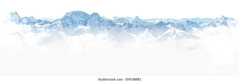 Panorama of winter mountains on white background