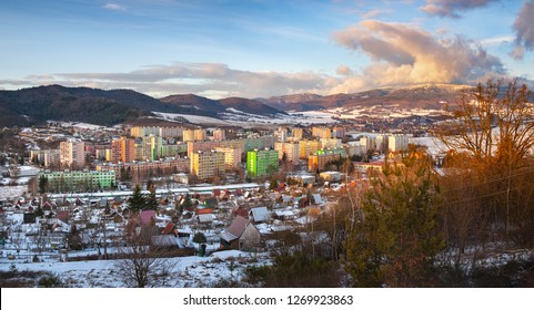 Panorama of winter Polana mountain. Centre of the town Detva Winter scenic background. Winter panoramic landscape in Podpolanie region.