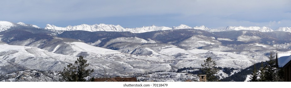 Panorama, Winter snow on the craggy mountains of the Gore Range of the Rocky Mountains,Colorado