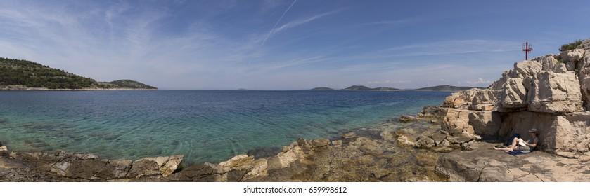 panorama woman on island zirje in croatia