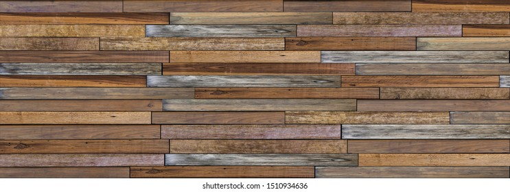 Panorama wood wall background. Abstract wooden texture banner with copy space for text or wallpaper.