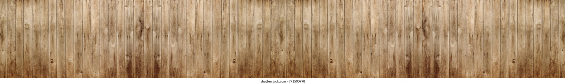 Panorama wood wall with wood background texture.