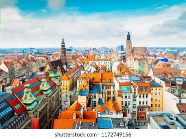 panorama of Wroclaw - bird eye view of colorful roofs of old town houses, Wroclaw, Poland, retro toned