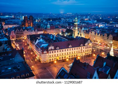 Panorama of Wroclaw, view on the market square and surroundings - Wroclaw, Poland